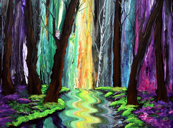 Owl in a Colorful Woodland Original Painting Laura Milnor Iverson Official Site