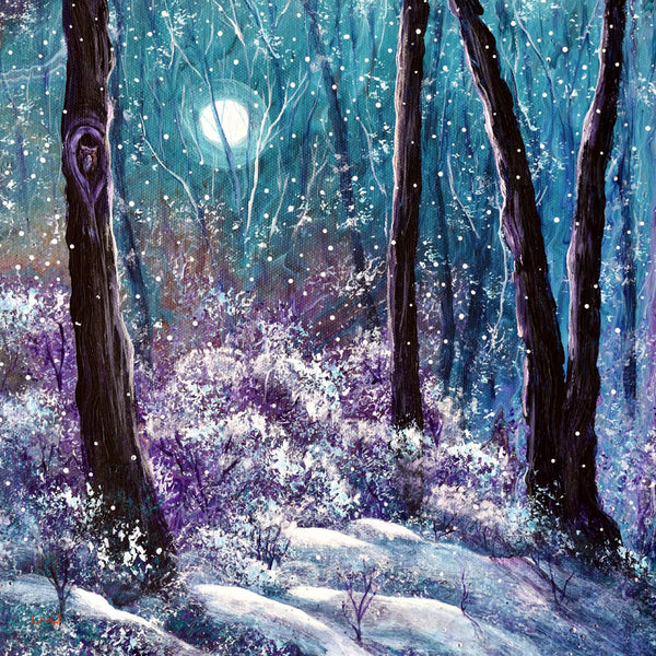Owl in Quiet Snowfall Original Painting
