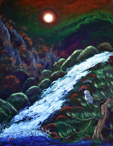Owl by a Waterfall Original Painting Laura Milnor Iverson Official Site