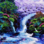 Heavenly Trees Above a Waterfall Original Painting