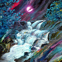 Alsea Falls by Moonlight Original Painting