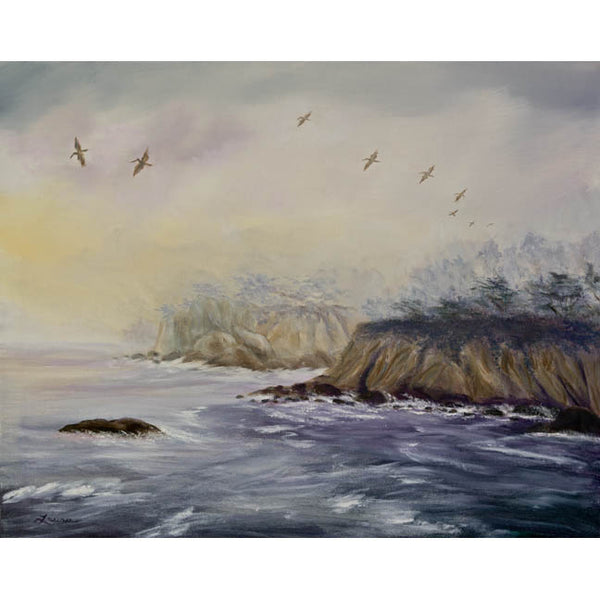 Pelicans on a Misty Morning Original Painting