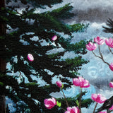 Magnolia and Pine Trees in Early Spring Original Painting