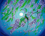 Quetzal Bird In Jacaranda Tree Original Painting - Laura Milnor Iverson Official Site