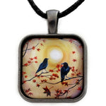 Ravens In Autumn Handmade Square Pendant on Zen Cord
