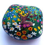 Cottontail Bunny in a Flower Garden Painted Rock SOLD