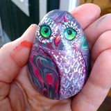 Owl Painted Rock in Magenta Green and Grey