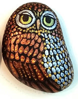 Metallic Owl Painted Rock - Reserved for Teresa