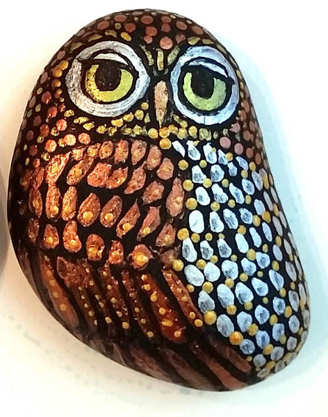 Metallic Owl Painted Rock - SOLD