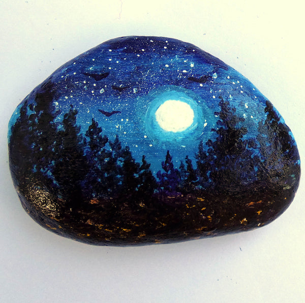 Moonlit Pine Trees Painted Rock SOLD