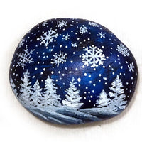 Snowflakes and Fir Trees Painted Rock - SOLD