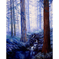 Blue Misty Morning in the Redwoods Original Painting