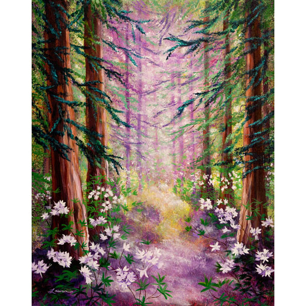 Daybreak In Springtime Redwood Trees Original Painting - Laura Milnor Iverson Official Site