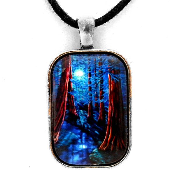 Moonrise Over The Los Altos Redwood Grove Rectangle Pendant