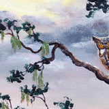 Horned Owl on Moonlit Oak Tree Original Painting - Prints Available