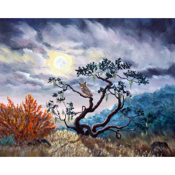 Horned Owl on Moonlit Oak Tree Original Painting