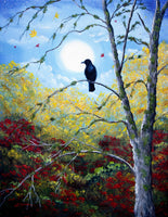 Raven in Autumn Twilight Original Painting