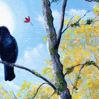 Raven in Autumn Twilight Original Painting Laura Milnor Iverson Official Site