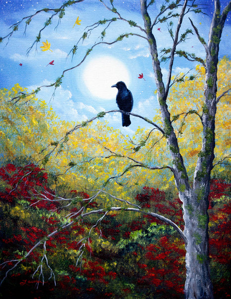 Raven in Autumn Twilight Original Painting - SOLD - Prints Available