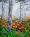 Walking Through the Woods on a Rainy Autumn Day Original Painting