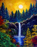 Autumn Sunset at Silver Falls Original Painting