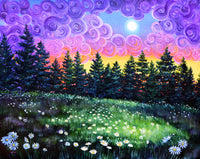 Daisy Meadow at Sunset Original Painting