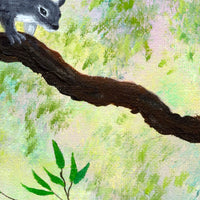 Gray Squirrel and Blue Butterfly Original Painting