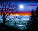 Three Sisters Overlooking a Moonlit River Original Painting