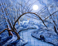 White Stag at Dunawi Creek Original Painting Laura Milnor Iverson Official Site