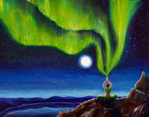 Green Tara Creating the Aurora Borealis Original Painting
