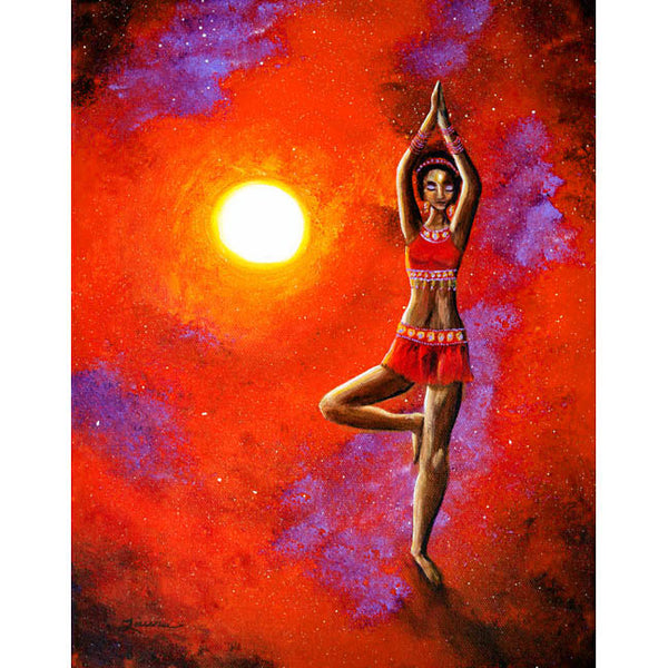 Red Tara Yoga Goddess Original Painting