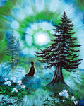 Early Morning Meditation In Blues And Greens Original Painting