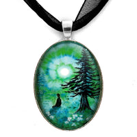 Early Morning Meditation in Blues and Greens Handmade Pendant