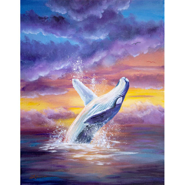 Humpback Whale in Sunset Original Painting - SOLD - Prints Available