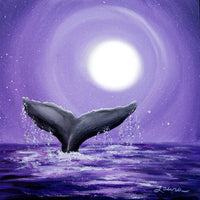 Whale Tail in Lavender Moonlight Original Painting