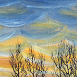 Winter River In Sunset Original Painting