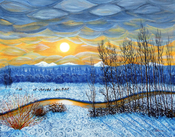 Winter River In Sunset Original Painting Laura Milnor Iverson Official Site
