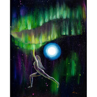 Warrior Yoga Goddess In Aurora Borealis Original Painting