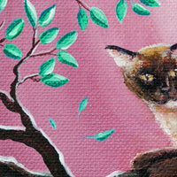 Chocolate Burmese Cat in Dancing Leaves Original Painting - Laura Milnor Iverson Official Site