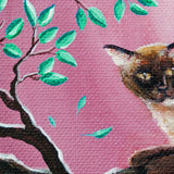Chocolate Burmese Cat in Dancing Leaves Original Painting