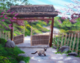 Siamese Cat At Hakone Side Gate Original Painting Laura Milnor Iverson Official Site