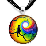 Black Cat Silhouette in Rainbow Swirl Handmade Pendant
