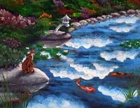 Calico Cat At Koi Pond Original Painting