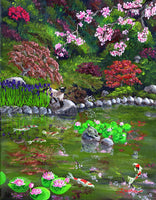 Cat, Turtle And Water Lilies Original Painting