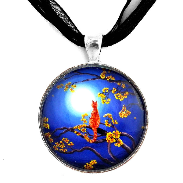 Golden Flowers in Moonlight Handmade Pendant