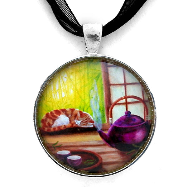 Bamboo Morning Tea Handmade Pendant - Laura Milnor Iverson Official Site