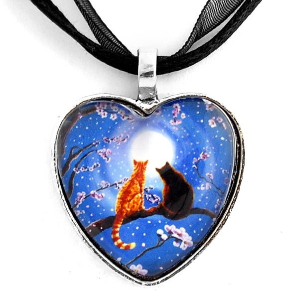Blue Valentine Cats Handmade Pendant - Laura Milnor Iverson Official Site