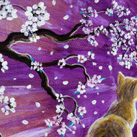Orange Tabby Cat In Cherry Blossoms Original Painting