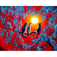 Three Cats In A Bright Red Sunset Original Painting