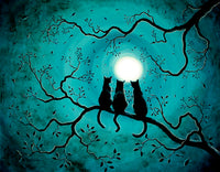 Three Black Cats Under A Full Moon Original Painting - SOLD